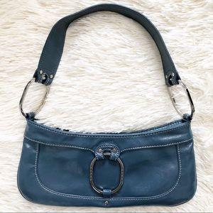 Vintage Y2K Guess Blue Leather Mini Baguette Purse